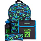 Kids Minecraft Backpack 4 Piece School Set Including Lunch Bag, Water Bottle and Pencil Case