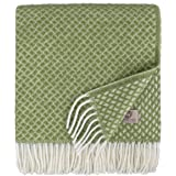Linen & Cotton Zachte Warme Wollen Deken Woondeken Dagdeken Sofia - 100% Nieuw-Zeelandse Wol, Groen (130 x 170 cm) Plaid Gooi