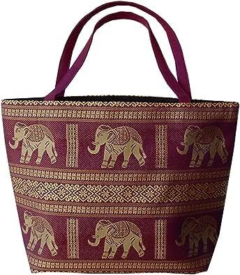 Ariyas Thaishop Große Henkeltasche aus Baumwolle mit Elefanten Muster