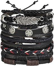 6pcs Genuine Leather Bracelet Wraps Casual Party Wear Skin Friendly Stylish Bracelets for Men Boys by Shining Diva Fashion