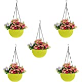 Go Hooked Plastic Hanging Pot, Yellow, 4.8 Inch, 5 Pieces