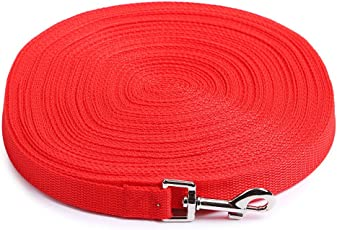 Dog Training Lead Long Rope Cotton Nylon Webbing Recall Obedience Line Leash for Pet 3m/10ft, (RED)