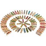 Pinzas de Madera de Color,Mini Pinzas para Manualidad 100 Pack Pequeñas Pinzas Madera para Colgar Decorativas Fotografías Pin