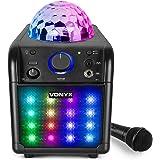 Vonyx SBS50B-PLUS Karaoke set met Microfoon, Bluetooth en LED Disco lichteffecten - Zwart