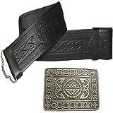 Leather Kilt Belt Embossed and Antique Celtic Serpent Buckle - 2 piece Set