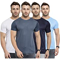 AWG Men's Light Weight Dryfit Polyester Sports Round Neck t-Shirts - Pack of 4