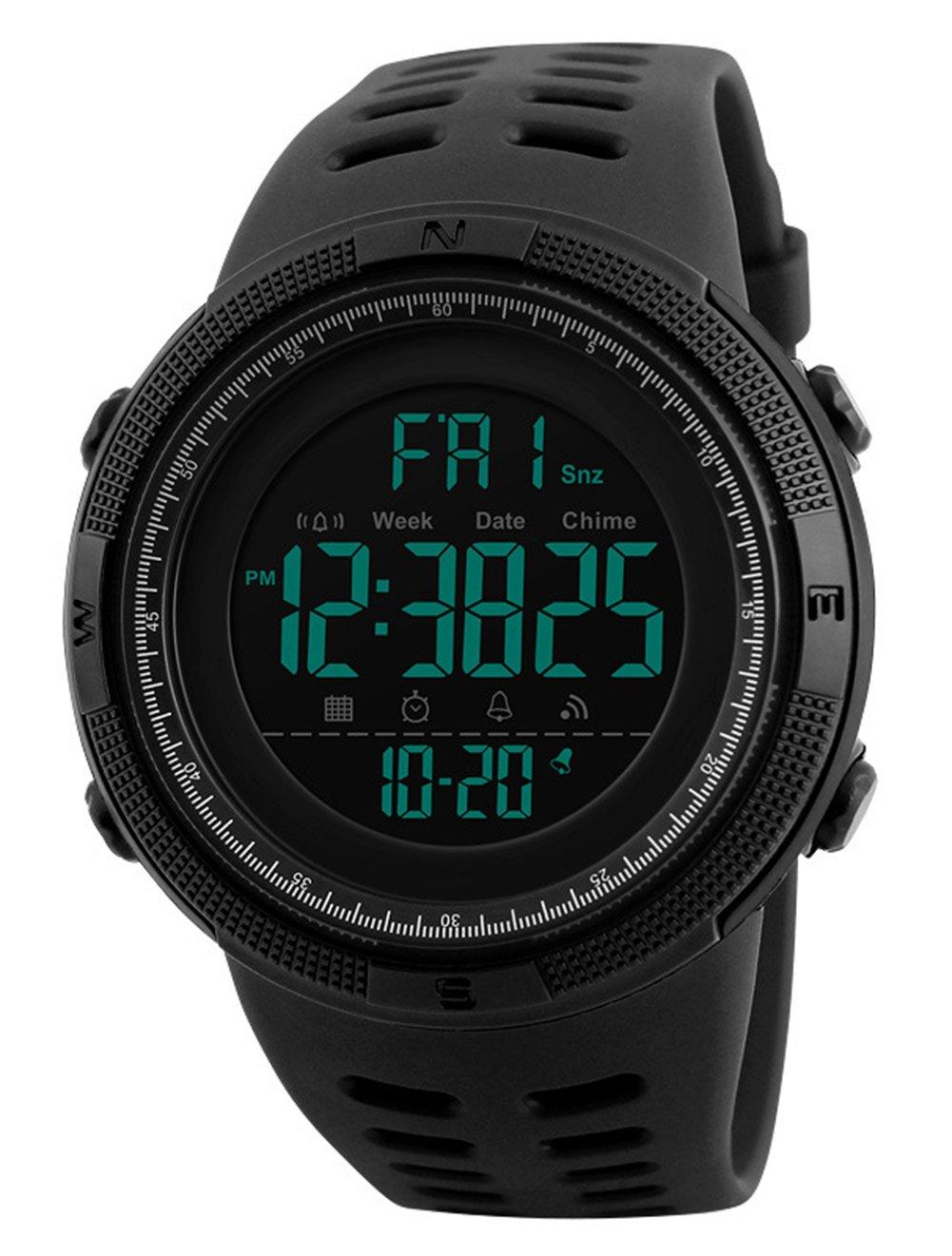Herren Digital Sport Uhren - Outdoor wasserdichte Armbanduhr mit Wecker Chronograph und Countdown Uhr, LED Licht Gummi Schwarz große Anzeige Digitaluhren für Herren
