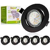 Bojim Spot LED Encastrables Noir, 6x 6W GU10 Spot de plafond Blanc Chaud Rond Plafonnier Encastré 2800K 600lm Equivalente de