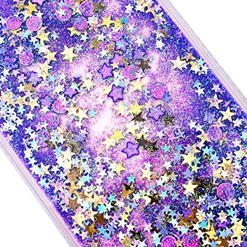 Yokata iPhone 7 Hülle Transparent Glitzer Flüssig Hardcase für Mädchen 3D Kreative Treibsand Liquid Bling Handyhülle Crystal Handy Tasche Weiche Silikon Soft Flexible TPU Bumper mit Diamant Ultra Dünn Lila