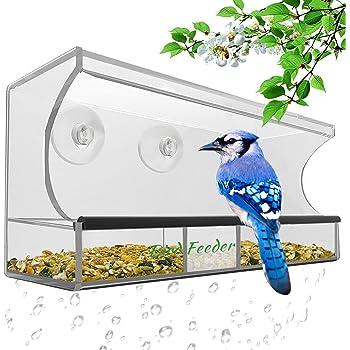 3er Set Fenster-Vogelfutterhaus Futterspender Fütterstation für Vögel Futterhaus