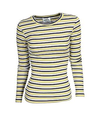 MADS NORGAARD Damen Jerseyshirt Tuba aus Bio-Baumwolle gestreift yellow grey  S