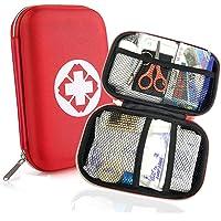 Trousse de Premier Secours 18 Articles, Rouge Semi-Rigide Mini Box Sac D'urgence Médical Imperméable Les Activités…