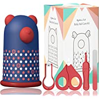 Baby Nail Kit by HyAdierTech   4-in-1 Baby Grooming Kit with Cute Bear Case, Baby Nail Clippers, Scissor, Nail File & Tweezer   Baby Manicure Kit and Pedicure kit for Newborn, Infant & Toddler (Blue)