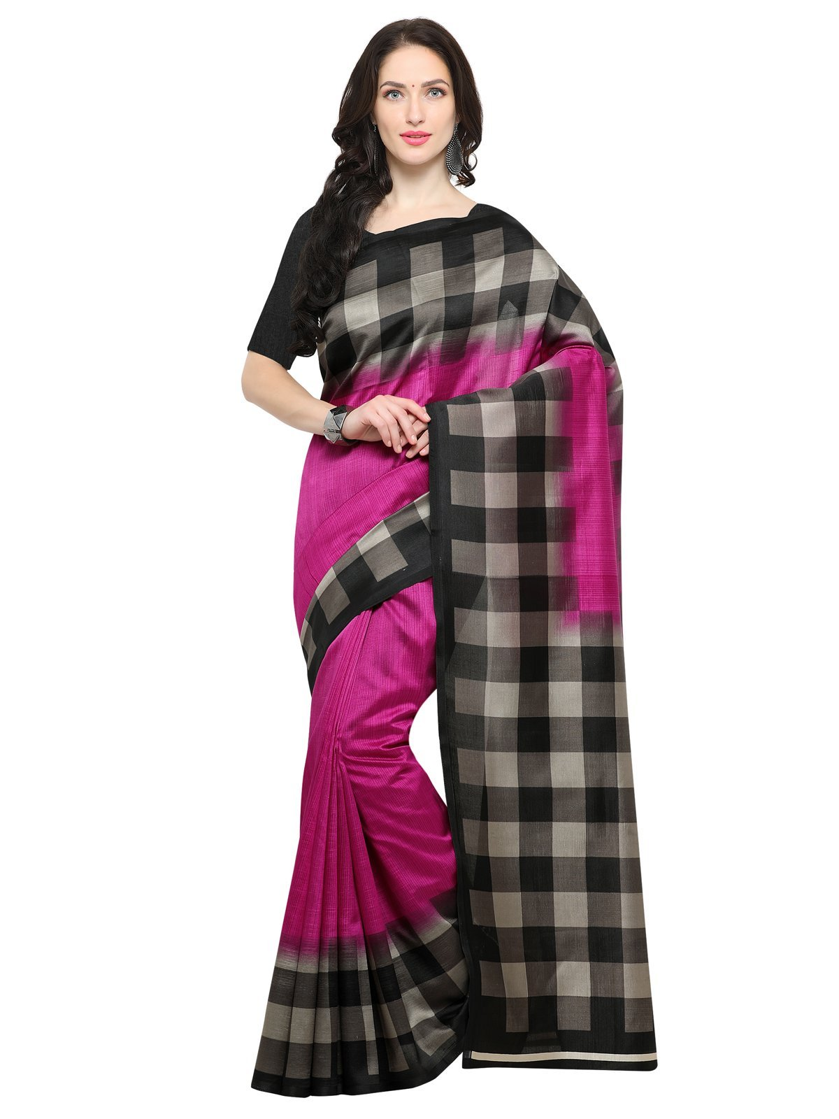 Kanchnar Women's Cotton Silk Printed Saree with Blouse
