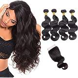 10 A brésiliens vierges Cheveux ondulés Lots avec fermeture Noir naturel Body Wave 260 grammes 4 trames avec grammes 4 x 4 en dentelle Fermeture