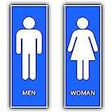 4 stuks wc-stickers Woman & Man stickers 21 x 7,2 cm toiletbord met uv-bescherming voor binnen en buiten