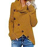 Yidarton Maglione da donna lavorato a maglia, sciolto collo alto solido caldo asimmetrico Wrap Pullover manica lunga top