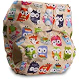 Littles & Bloomz, Baby Cloth Washable Reusable Nappy Pocket Diaper Bamboo, Fastener: Popper, Pattern 1, with 1 Bamboo…