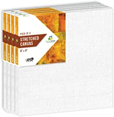 """HomeStrap 10 oz Primed Cotton Pre Stretched Canvas with Wooden Frame 6""""X6"""" – Pack of 4"""