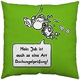 """Sheepworld 45159 Baumwollkissen """"Mein Job ist auch so eine Art Dschungelprüfung!"""", 40 cm x 40 cm, beidseitig bedruckt, grün"""