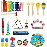 LinStyle Instrument de Musique pour Enfant, 25Pcs Instruments de Musique en Bois Percussion pour Bébé avec Xylophone, Tambour