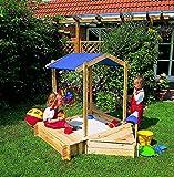 Sandkasten PETER PAN Sandkiste mit 2 Anbauboxen und Dach PROMADINO Kiefer