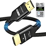 8K HDMI Kabel 2.1 2M/6.6FT, Etseinri Ultrahoge snelheid HDMI Gecertificeerde Kabel 10K/8K/4K (8K@60Hz 4K@120Hz) 48Gbps HDMI K