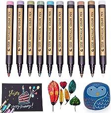 Aibesser Metallic Marker, Metallic Marker Pens, 10 Stück Metallic Marker Stifte Feine für DIY Fotoalbum, Signatur Scrapbooking Zubehör für die Karte DIY Fotoalbum