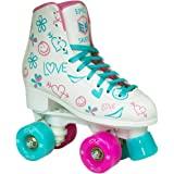 Epic Frost High-Top Indoor/Outdoor Quad Roller Skates w/ 2 pr of Laces (Pink & Blue) - Women's