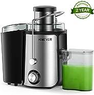 Entsafter, Homever Entsafter für Obst und Gemüse, Zentrifugal Entsafter mit Fruchtfleischbehälter & Saftbehältezwe, 65mm Brei