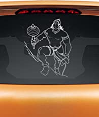 WallDesign Stickers For Cars Mighty Hanuman Is Here No Fear Silver Colour Reflective Vinyl