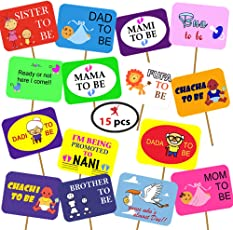 Party Propz Baby Shower Photo Props 15 Pcs for Baby Shower