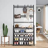 Lukzer 1PC Multipurpose Storage Organizer Rack Coat Hanger Shoes & Garment Stand Shelf with 5 Bottom Shelves and Hooks (170 x