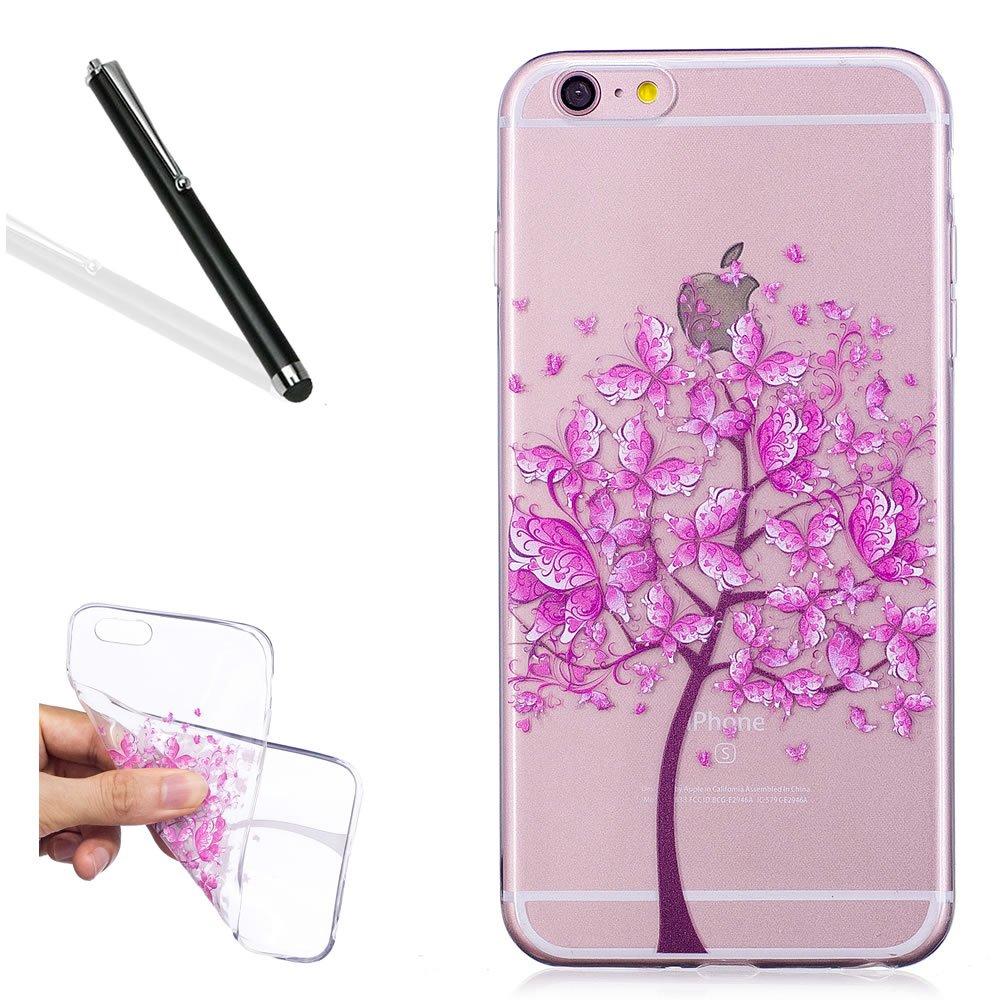 Custodia per iPhone 6S 4.7,Silicone Cover per iPhone 6 4.7,Leeook Creativa Bello Rosa Farfalla Alb