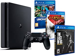 Playstation 4 Konsole PS4 Slim 1Tb MEGAPACK 5 Spiele! The Last Of Us + Uncharted Collection (3 im 1) + God of War: Remastered HD