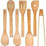 Ustensiles De Cuisine En Bois De Bambou - Set de 7 Accessoires Anti-Rayures (Cuillères, Spatules, Pinces) - Ensemble Ustensil