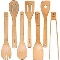 Ustensiles De Cuisine En Bois De Bambou - Set de 7 Accessoires Anti-Rayures (Cuillères, Spatules, Pinces) - Ensemble…