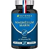 Magnésium Marin et Vitamine B6 | Combat Efficacement la Fatigue | 150 mg/jour | 120 Gélules d'Origine Végétale | 4 Mois de Cu