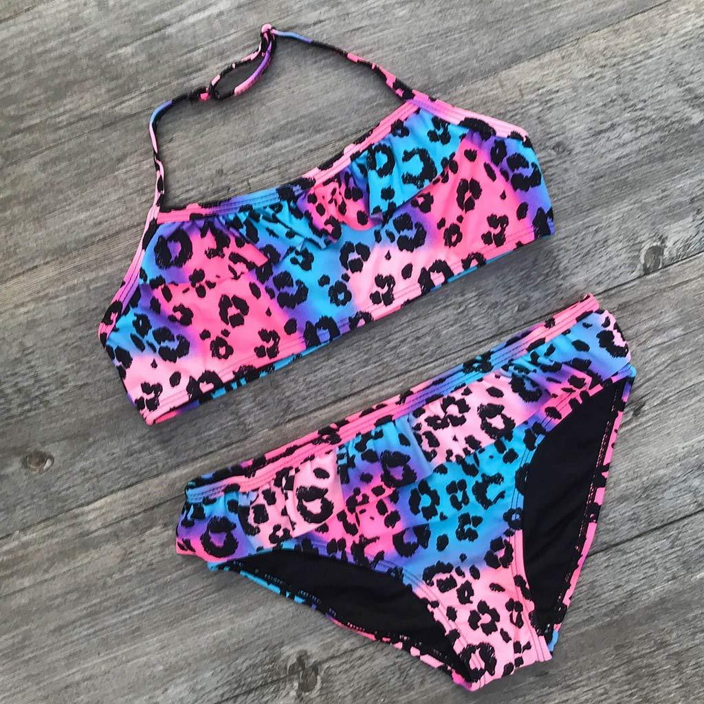 Harpily Ragazze Bambini Costumi da Bagno Bambina Due Pezzi Bikini di Leopardo Bikini Increspato 2 Pezzi Bikini Costume da Bagno
