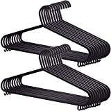 K-ONE 25x Adult Coat Hangers Black Colour Strong Plastic Clothes with Suit Trouser Bar and Lips (36cm Wide)
