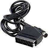 Enet Câble vidéo de remplacement pour TV péritel RVB pour Sega Saturn Noir 1,8 m