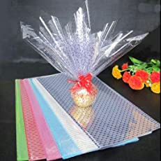 TOTAL HOME Print Cellophane Plastic Flower Wrapping Glass Paper (20inch x 5feet, Multicolour) - 5 Pieces