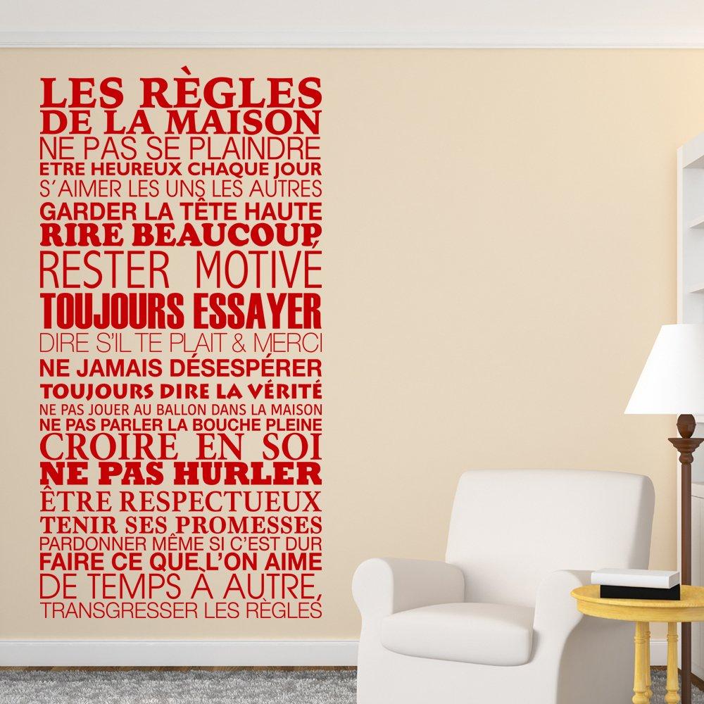Sticker mural les règles de la maison 61x120 cm noir amazon fr cuisine maison