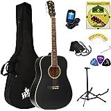 Winzz Guitare Acoustique Adulte 4/4 Débutant, Guitare Folk Noire avec Sac, Accordeur, Sangle, Plectres, Cordes Supplémentaire