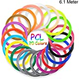 PCL Filament 1.75MM, Lot de 20 Couleurs, 6.1m pour Chaque Couleur, 122M au Total, Fochea PCL Filament pour 3D Dessin Pour Stylo à l'impression 3D