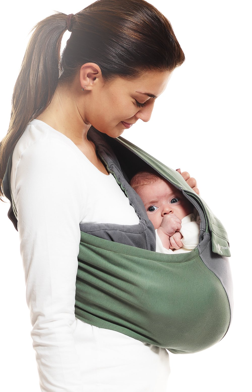 Wallaboo Wrap Sling Carrier Connection, Easy Adjustable, Ergonomic, 3 Carrying Positions, Newborn 8lbs to 33 lbs, Soft Breathable Cotton, 3 Sitting Positions, EU Safety Tested, Color: Green / Grey Wallaboo One size fits all, adjustable in size to fit every mum and dad Can be used for a preemie up to 33 pound child Keeps baby warm in 3 different positions: sleep, sit and active 2