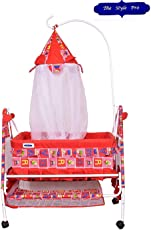 Comfort Store Royal Blue Crib with Swing and Mosquito Net and Multiple Functions (Red)