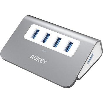 AUKEY Hub USB 3.0 4 Porte SuperSpeed 5Gbps in Alluminio con Cavo USB 3.0 50cm e LED Indicatore USB Hub per Apple MacBook, Macbook Air, Macbook Pro, iMac (Grigio)