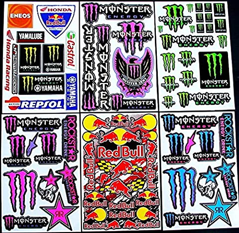 * 6 BLATT AUFKLEBER VINYL BF/ MOTOCROSS STICKERS BMX BIKE PRE CUT STICKER BOMB PACK METAL ROCKSTAR ENERGY SCOOTER