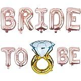 Ouinne 16 Zoll Bride to BE Rosa Folienballons Luftballons Brautdusche Bachelorette Party Dekoration und Diamant Ring Ballon